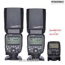 Yongnuo TTL 2PCS YN600EX-RT flash speedlite + YN-E3-RT flash trigger for canon