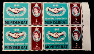 """Montserrat QEII """"Int. Co-operation Year"""" 1965 block MINT 2c with margin stamps"""