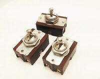 lot of 3 vtg antique H&H on/off/neutral toggle rocker power switch industrial