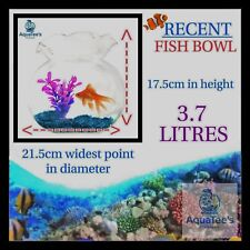 RECENT FLUTED Fish bowl 3.7 LITER NANO AQUARIUM FISH TANK NO WATER PUMP FILTER