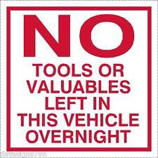 No hay herramientas u objetos de valor izquierda en este vehículo Adhesivo Calcomanía X 2