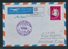 96757) Belgien SABENA FF Brüssel - New York 8.1.71, Aerogramme ab UNO Genf