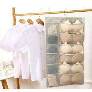 30 Mesh Pockets Hanging Bag Bra Underwear Storage Organiser Tidy Metal Hanger