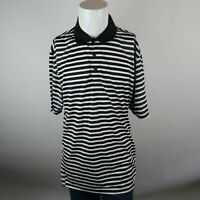 Ashworth Weather Systems Black White Short Sleeve Striped Polo Shirt Mens XL