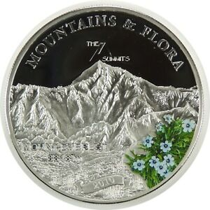 """2010 $5 SILVER PROOF PALAU """"MOUNT EVEREST"""" THE 7 SUMMITS KM#293 LOW MINT(102720)"""