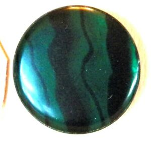 Bb Emerald stripe old Celluloid GLOW BUTTON   Large