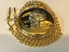 Skull TG117 Pewter on a Gold Pocket Watch Quartz fob