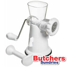 White Plastic Hand Operated Meat Mincer / Grinder / With Suction Clamp