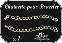 LOT 4 CHAÎNETTE CHAÎNE FERMOIR PERLE BRACELET RUBAN 7mm ARGENTÉ ARGENT CHARMS