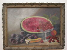 ANTIQUE 19th CENTURY AMERICAN FOLK ART FRUIT STILL LIFE WATERMELON OIL PAINTING