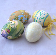 EASTER EGGS LOT OF FOUR COLORFUL EGGS PAPER MACHE OR PAINTED ONE IS BARRY PATCH