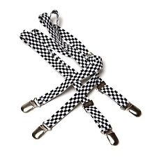 MENS MERC LONDON CHECK BRACES CHECKERBOARD CHECK STYLE DRACE - BLACK & WHITE