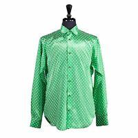 Men's Silk Button-Up Casual Shirt Green Polka Dot Designer Handmade Italy Medium