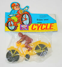 Dime Store Toy Plastic Motorcycle Rider Hong Kong 1970s NOS New Colors Vary