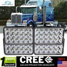 4x LED Headlights For Kenworth Mack Peterbilt Rectangular Headlights 357 378 379