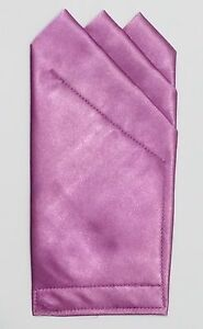 POCKET SQUARE Orchid Pink 3 Point Satin  - Custom prefolded & Sewn