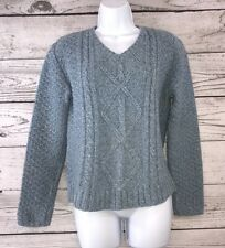 fe35eee6efc Cabella s Size S Cable Knit Sweater Blue White Variegated V-Neck Women s  Small