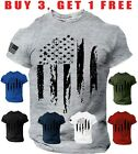 USA Distressed Flag T-Shirt Patriotic American Army Military mens Tee