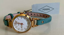 FOSSIL GEORGIA MINI WHITE DIAL TEAL GREEN LEATHER STRAP WATCH ES4176 $125 SALE