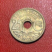 #3831 - RARE -  25 centimes 1939 Lindauer SPL/FDC sortie de rouleau - FACTURE
