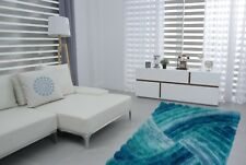 Swirls Turquoise Luxurious 3d Effect Modern Soft Silky Thick Pile Shaggy Rug