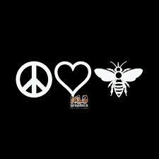 PEACE LOVE BEES vinyl Sticker Beekeeping Honey Bees Bumble Hive BEEKEEPER