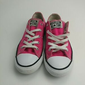 Converse All Star hot Pink Size 1 Low Top Sneakers Lace Up Youth Junior Shoes
