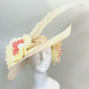 Exclusive Cream Designer Millinery by Hat Couture Wedding Bridal Race Ascot Hat