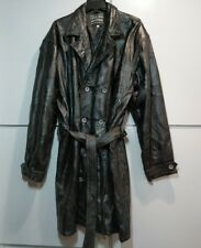 Women's Long Leather Button Up Trench Coat Patchwork Look Size 3XL