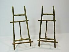 2 Vintage Gold Metal Faux Bamboo Easel Display Picture Photo Plate Art Stand