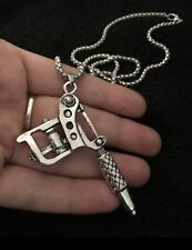 Large Tattoo Gun Tattoo Artist Machine Gun Necklace Silver Artist Pendant Gift