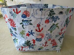Vera Bradley Lighten Up Deluxe Family Tote Bag Anchors Aweigh Print NWT