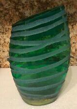 Asymmetric etched vase, Green & blue, unusual shape, heavyweight, FAB!