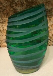 Asymmetric etched vase, Green & blue, unusual shape, heavyweight, FAB!