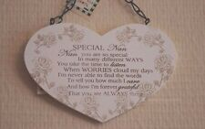 Special Nan Wall Plaque Wooden Heart Shaped Sign Roses Cream White 16cm F1214c