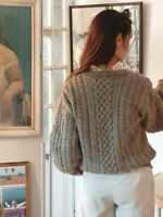 Country wool cable knit jumper sweater green Doen Rouje style preppy highland