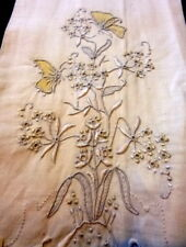 VTG Madeira Embroidered BUTTERFLY Linen Towel Guest MOVIE STAR ESTATE!