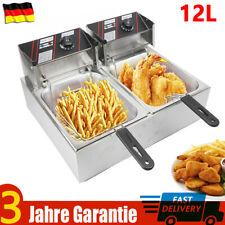 12L Edelstahl 5KW Elektrische Doppel Fritteuse Friteuse Fritöse + 2 Frittierkörb