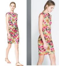 Zara Floral Multicolored Garden Dress L UK 12 14 shoulder pads stretch pink
