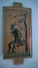 """Old Vintage """"Hand Curved Scene Tray """" Made in Kenya 3 1/8"""" X 6 7/8"""" , 9.4 Oz."""