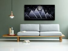 Abstract Geometric Mountains Moon Landscape Print Canvas Abstract Picture Art