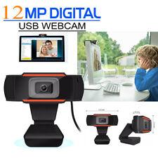 USB 12 Megapixel HD Webcam Web Cam Camera & Microphone Mic For PC Laptop Skype