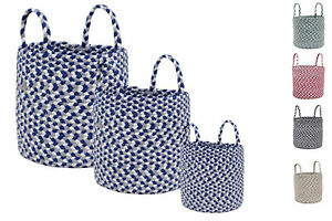 Round Farmhouse Hand Woven Basket Set of 3 with Handles