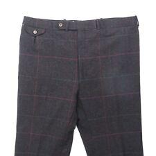 Cordovan & Grey Heavy Plaid Windowpane Flat Front Trousers Pants 100% Wool Sz 42