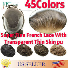 French Lace Mens Toupee Lace Front Hand-Tied Men replacement Human Hairpiecs Q6