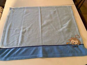 Child Of Mine Carters Fleece Snuggly Monkey Blanket Baby Blue OS