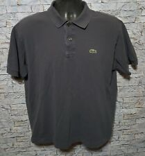 LACOSTE Men's Gray Cotton Short Sleeve Golf Polo Shirt Croc Logo Size 5 Medium