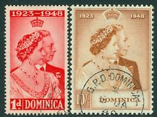 SG 112/ 13 Dominica 1948 Silver wedding set, Very fine used CAT £42