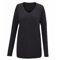 Cabi Serenity Pullover Top Womens S Charcoal Gray Black Long Sleeve V-Neck 3052