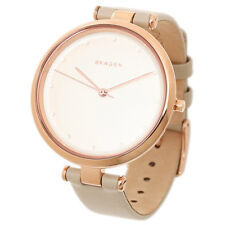 NEW SKAGEN  TANJA ROSE GOLD TONE,TAUPE LEATHER BAND CLASSIC WATCH SKW2484